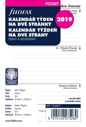 Obrázek Náhradní vložky do diářů Filofax - kalendář kapesní 2020 týden / 2 strany