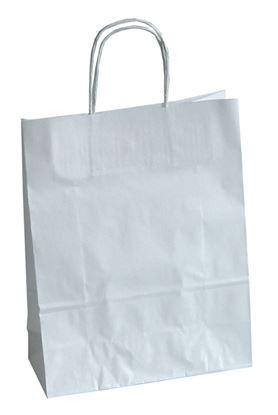 Obrázek Tašky papírové kroucená ucha - bílá / 230 x 100 x 320 mm