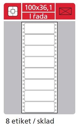 Obrázek Tabelační etikety s vodící drážkou jednořadé - 100 x 36,1 mm jednořadé 4000 etiket / 500 skladů