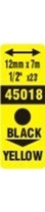Obrázek Pásky D1 standardní - 12 mm x 7 m / černý tisk / žlutá páska