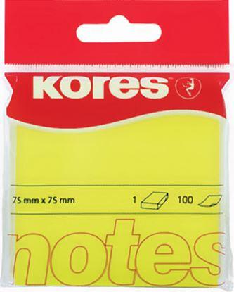 Obrázek Samolepicí bloček Kores neon - žlutá