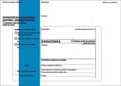 Obrázek Obálky B6 s doručenkou, vytrhovací okénko - s modrým pruhem / 1000 ks