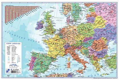 Obrázek Pracovní podložky dekorované - jednostranná / mapa Evropa