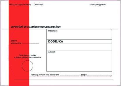 Obrázek Obálky B6 s dodejkou, vytrhovací okénko - s červeným pruhem / 1000 ks