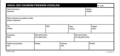 Obrázek Kniha jízd Optys - 1/3 A4 / osobního firmního vozidla 32 listů / 1171