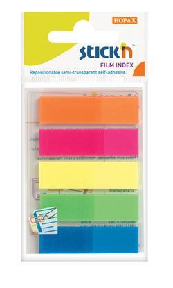 Obrázek Samolepicí záložky Stick´n by Hopax plastové  -  12 x 45 mm / 5 x 25 lístků / neonové