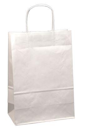 Obrázek Tašky papírové kroucená ucha - bílá / 260 x 110 x 345 mm