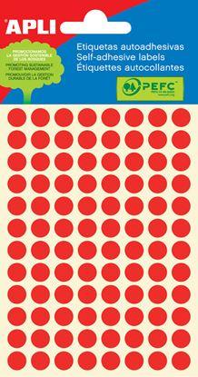 Obrázek Samolepicí kolečka APLI barevná - ? 8 mm / 288 etiket / červená