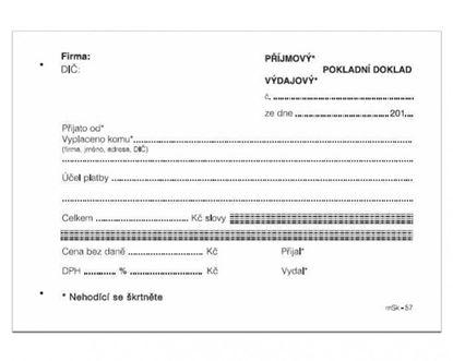 Obrázek MSK 7400057 univerzální příjmový a výdajový doklad nečíslovaný 100 listů NCR A6
