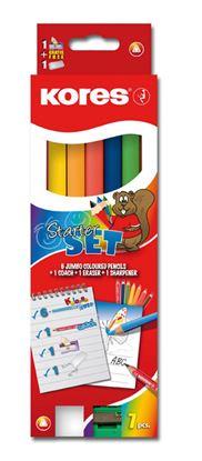 Obrázek Kores Jumbo Starter set - 6 pastelek + tužka HB