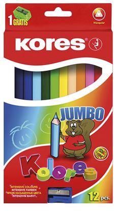 Obrázek Pastelky trojhranné Kores JUMBO - 12 barev