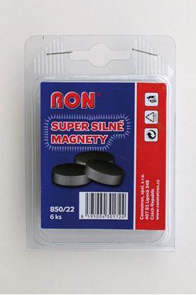 Obrázek Magnety černé Conmetron super silné -  průměr 22 mm / 6 ks