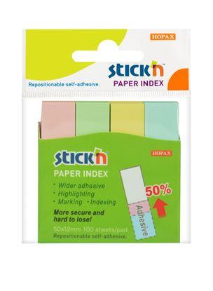 Obrázek Samolepicí záložky Stick´n by Hopax - 12 x 50 mm / 4 x 100 lístků / pastelové barvy