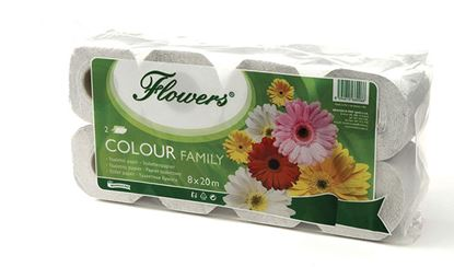 Obrázek Toaletní papír Flowers Rodinné balení - 8 roliček / bílá