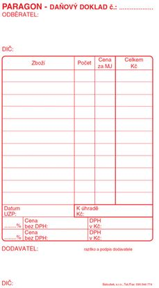Obrázek Paragon daňový doklad - blok 80 x 150 mm / nečíslovaný 50 listů / ET010