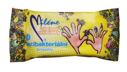 Obrázek Vlhčené ubrousky Miléne - antibakteriální / 15 ks