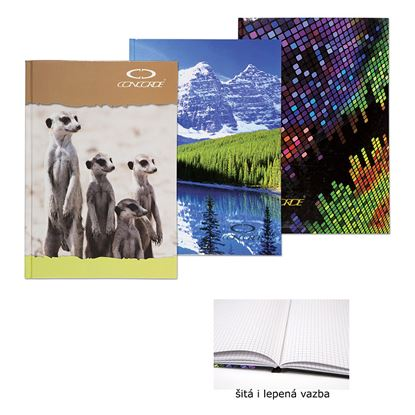 Obrázek Kniha záznamní lepená Concorde - A4 / čtvereček / 100 listů