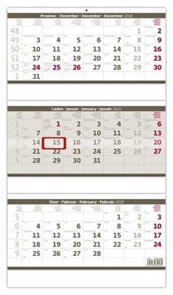 Obrázek Kalendáře nástěnné pracovní - tříměsíční šedý skládaný / N207