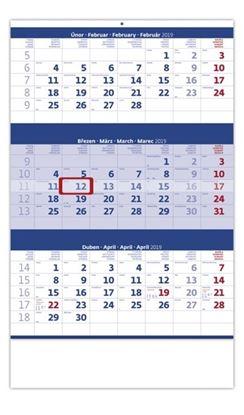 Obrázek Kalendáře nástěnné pracovní - tříměsíční modrý / N205