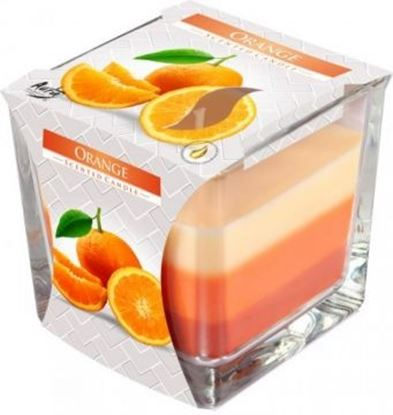 Obrázek Tříbarevná svíčka ve skle - pomeranč
