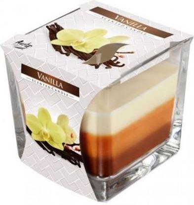 Obrázek Tříbarevná svíčka ve skle - vanilka