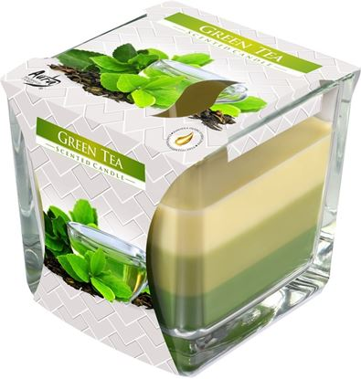 Obrázek Tříbarevná svíčka ve skle - zelený čaj