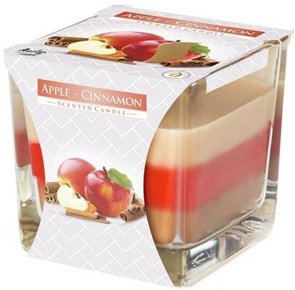 Obrázek Tříbarevná svíčka ve skle - jablko/skořice