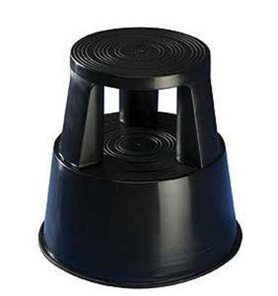 Obrázek Pojízdná plastová kruhová stolička -  černá