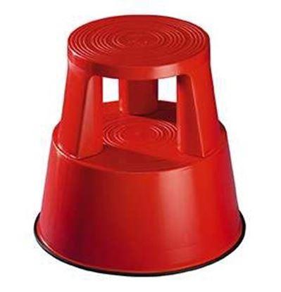 Obrázek Pojízdná plastová kruhová stolička - červená