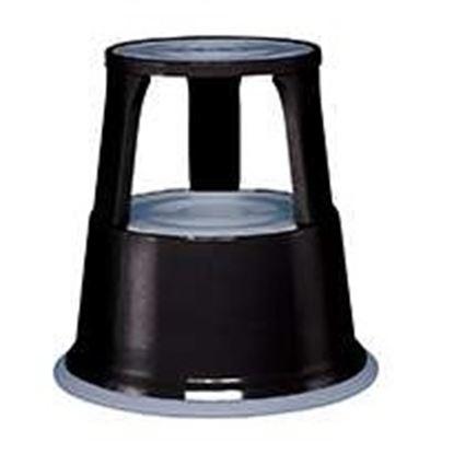 Obrázek Pojízdná kovová kruhová stolička -  černá