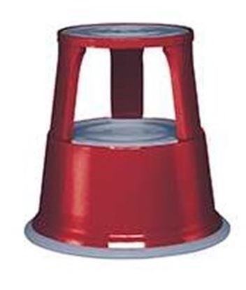 Obrázek Pojízdná kovová kruhová stolička - červená