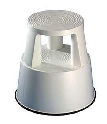 Obrázek Pojízdná plastová kruhová stolička -  světle šedá