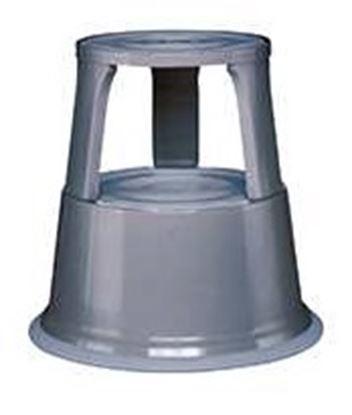 Obrázek Pojízdná kovová kruhová stolička -  šedá