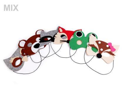 Obrázek Dětská karnevalová maska - škraboška filcová zvířátka