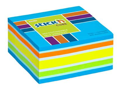 Obrázek Samolepicí bločky Stick´n by Hopax - 76 x 76 mm / 400 lístků / neon mix modrá