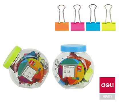 Obrázek Klipy kovové barevné DELI - 19 mm / 25 ks / barevný mix