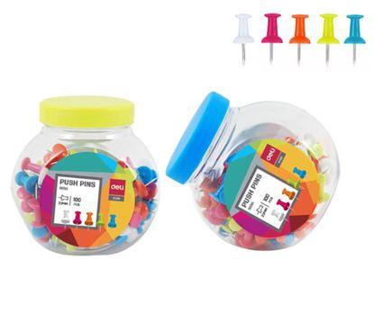 Obrázek Špendlíky na nástěnku DELI - 100 ks / barevný mix