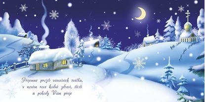 Obrázek Novoročenky jednolisté - H531 / zasněžená chalupa