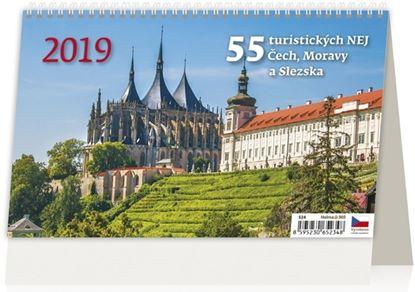 Obrázek Kalendář stolní 55 TURISTICKÝCH NEJ ČECH, MORAVY A SLEZSKA - 55 Turistických nej ... / S24