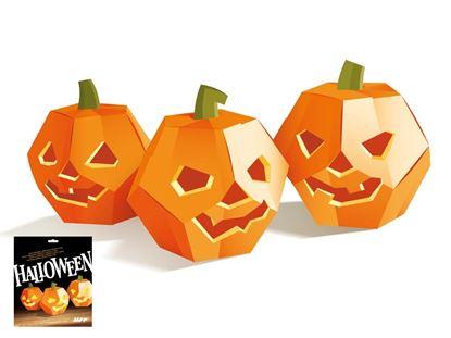 Obrázek Dýně na Halloween - skládanka z kartonu / 3 ks