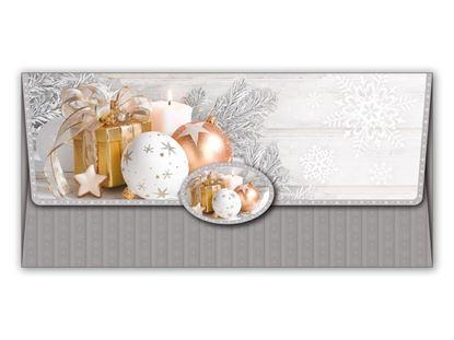 Obrázek Vánoční obálky na peníze - 180 x 85 mm / stříbrná