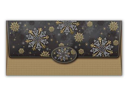 Obrázek Vánoční obálky na peníze - 180 x 85 mm / černo-zlatá