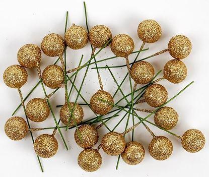 Obrázek Cesmína ovoce - výška 12 cm / zlatá glitter, 24 ks