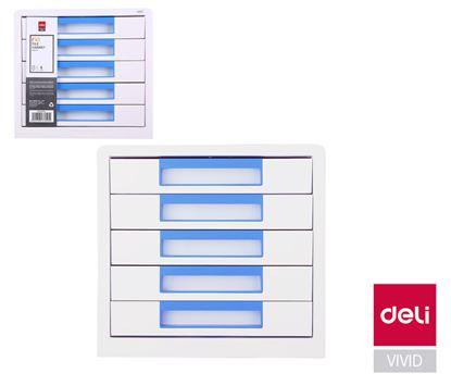 Obrázek Zásuvkový box DELI EZ01033 - modrá / 5 zásuvek