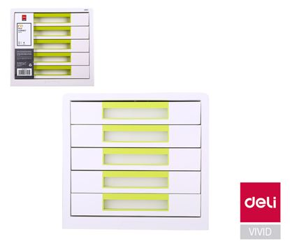 Obrázek Zásuvkový box DELI EZ01053 - zelená / 5 zásuvek