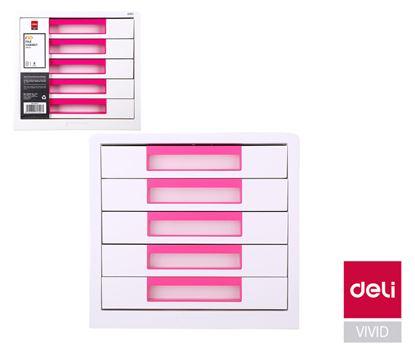 Obrázek Zásuvkový box DELI EZ01043 - růžová / 5 zásuvek