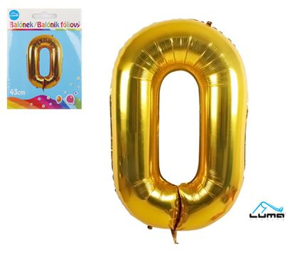Obrázek Balónek foliový č. 0 / zlatý / 43cm