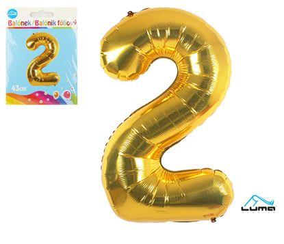 Obrázek Balónek foliový č. 2 / zlatý / 43cm