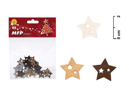 Obrázek Vánoční dřevěné dekorace - hvězdička / 24 ks