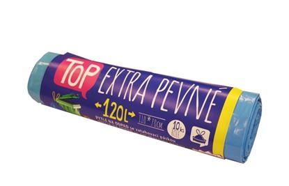 Obrázek Pytel do košů s páskou modré - 110 x 70 cm / 120L / 10ks / 35 my / extra silné